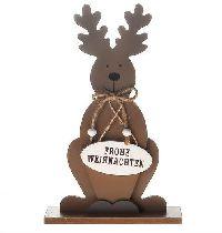 Elch Dekofigur mit Spruch BRAUN 22464 Frohe Weihnachten 19x6x30cm