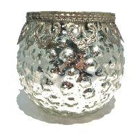 Bauernsilber Glas silber-crackle Metallmanschett Kugel Ø8cm H9,5cm 49804010